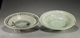 Two Large Glazed Ceramic Dishes