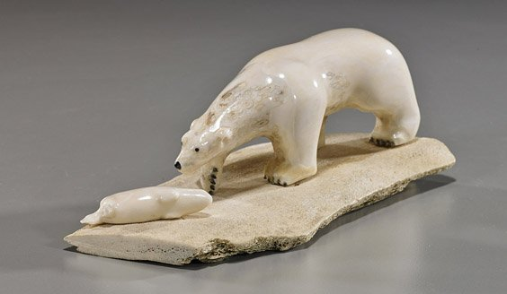 Eskimo carved ivory polar bear group lot