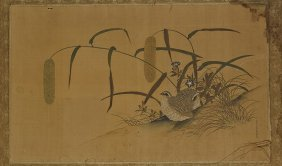 Japanese Painting On Silk: Quail