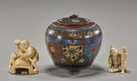 Antique Japanese Cloisonn� & Two Ivories
