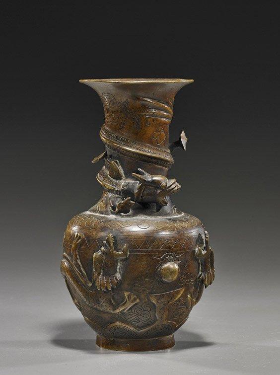 Antique Chinese Bronze Dragon Vase Lot 98