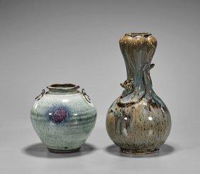 Two Chinese Flambé Glazed Vases