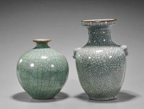 Two Chinese Crackle Glazed Vases