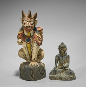 Two Old & Antique Thai Wood Carvings