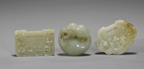 Three Chinese Celadon Jades: Locks & Toggle