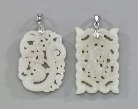 Two Carved White Jade Openwork Pendants
