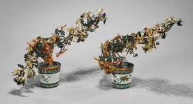 Pair Old Hardstone 'trees' In Cloisonné Pots