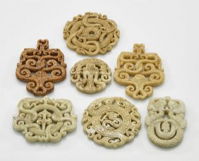 Seven Archaistic Chinese Hardstone Pendants