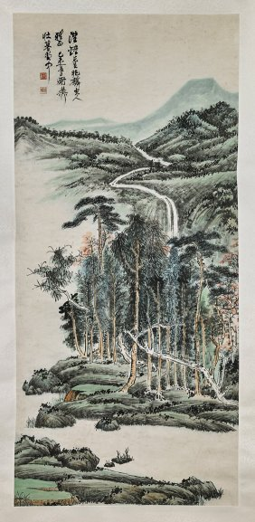 Two Chinese Paper Scrolls: Forests