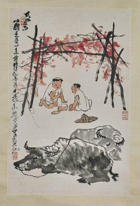 Two Chinese Paper Scrolls: Children & Fishermen