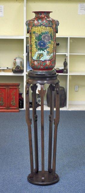Tall Chinese Famille Verte Porcelain Vase
