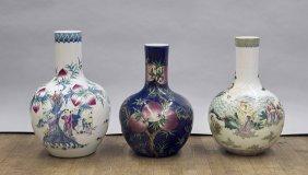 Three Tall Famille Rose Bottle Vases