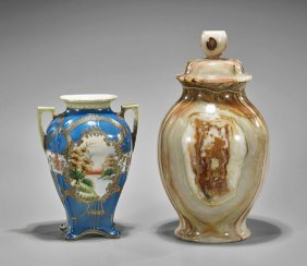 Two Vases: Antique Nippon & Banded Onyx