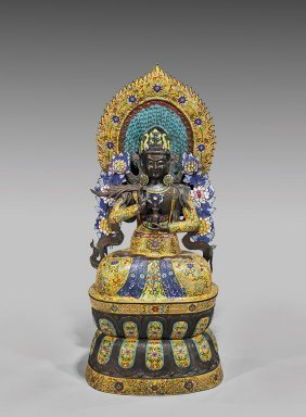 Large Chinese Cloisonné Enamel Bodhisattva