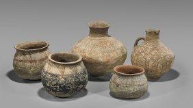 Five Antique Painted Pottery Vessels