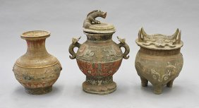 Three Large Chinese Painted Pottery Vases