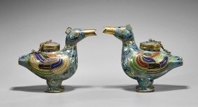 Pair Ming-style Cloisonné Duck Vessels