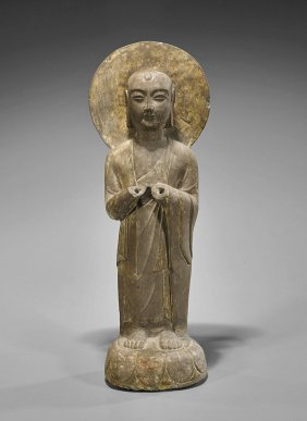 Old Chinese Carved Stone Bodhisattva