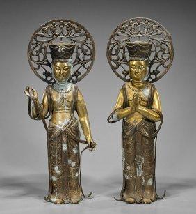 Pair Tall Gilt Bronze Bodhisattvas
