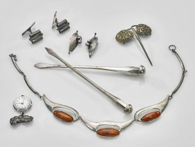 Nine Pieces Of Silver Jewelry