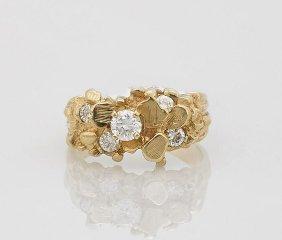 14k Yellow 'nugget' Gold & Diamond Ring