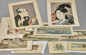 Seventeen Japanese Woodblock Prints By Various Artist