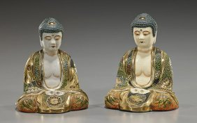 Pair Old Japanese Satsuma-type Buddhas