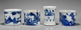 Four Kangxi-style Blue & White Brushpots