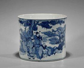 Large Kangxi-style Blue & White Brushpot