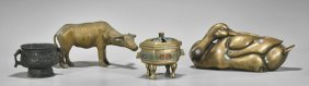 Foour Chinese Bronzes: Animals & Censers