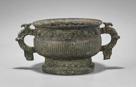 Large Zhou-style Bronze Dui Vessel