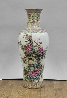 Tall Famille Rose Enameled Vase