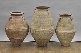 Three Large Omani Transport Pottery Jars