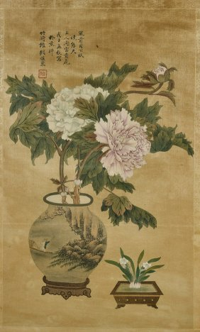 Chinese Silk Painting: Floral Study