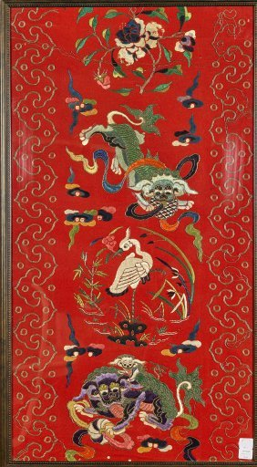 Pair Antique Chinese Red Embroideries