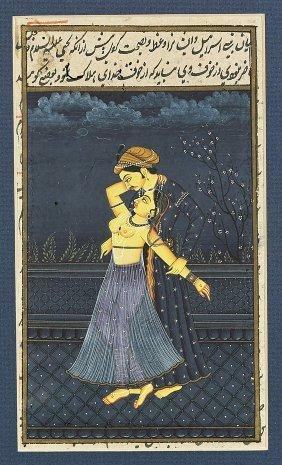 Pair Mughal Miniature Paintings: Krishna & Radha