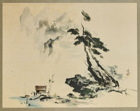 Two Chinese Paintings: Cranes & House