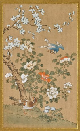 Pair Chinese Paper Paintings: Birds