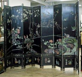 Tall Chinese 8-panel Coromandel Screen