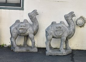 Pair Chinese Carved Stone Bactrian Camels