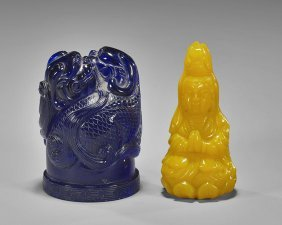 Two Beijing Glass Carvings: Seal & Guanyin