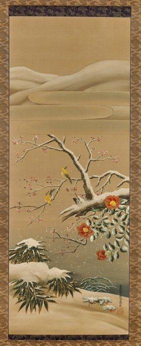Three Chinese Silk Scrolls: Three Friends Of Winter