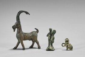 Three Small Bronze Items: Animals & Man