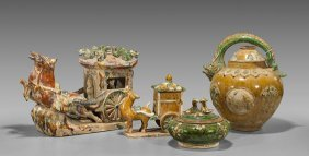 Four Tang-style Sancai Glazed Potteries