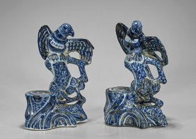 Pair Chinese Ming-style Porcelain Birds