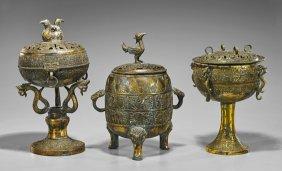 Three Han-style Gilt Bronze Ritual Vessels
