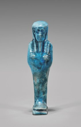 Egyptian Bright Blue Faience Ushabti