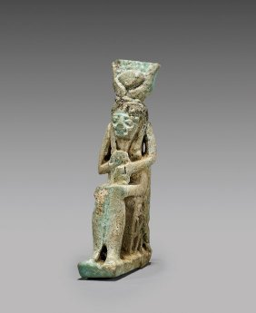 Egyptian Faience Amulet: Isis & Horus