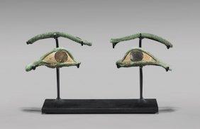 Pair Egyptian Bronze Eyes & Brow Inlays