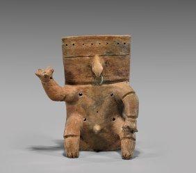 Quimbaya Pottery Seated Male 'slab' Figure